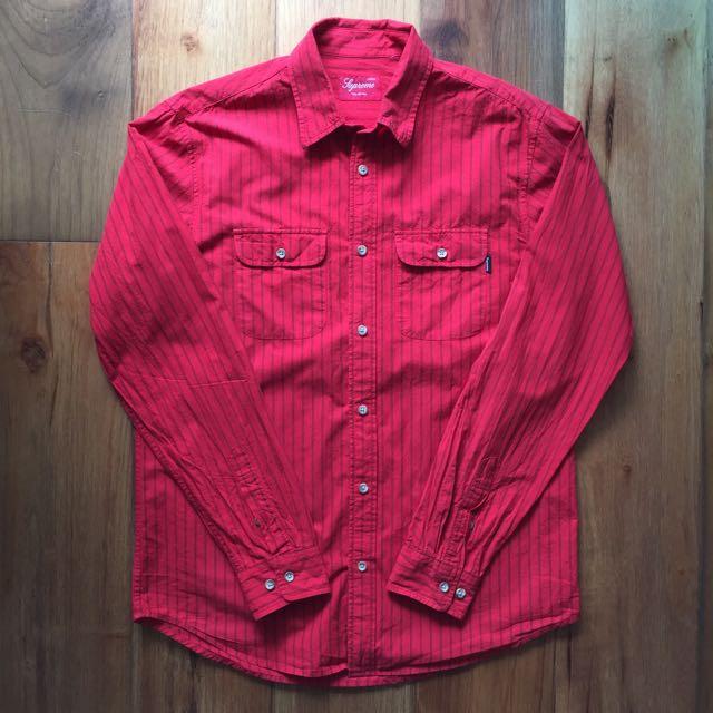 f529d6287cb7 Supreme Long Sleeved Shirt Red Medium, Men's Fashion on Carousell