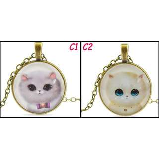 🚚 [In Stocks] Glass Cabochon Necklace - Cat
