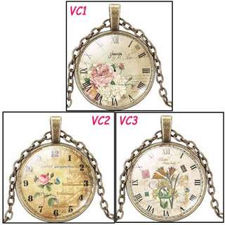 🚚 [In Stocks] Glass Cabochon Necklace - Clock Art