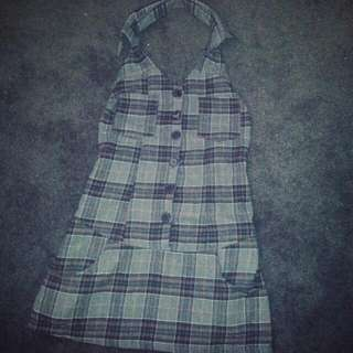 Check Woolen Jumper Skirt (Fits Size S To M )