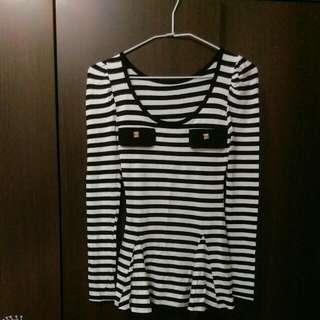 (2手)韓製黑白條紋 長袖衣