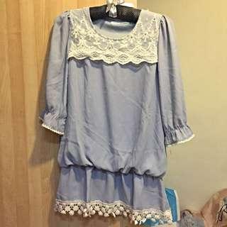 Life8 紫色蕾絲雪紡上衣 洋裝 七分袖