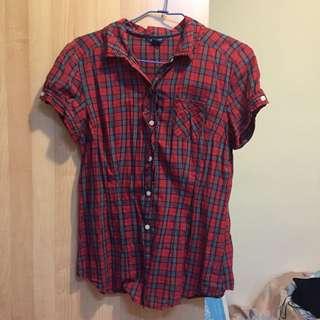 American Eagle AE 紅色格紋短袖襯衫