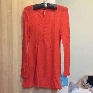 亮橘大U領長版上衣 洋裝