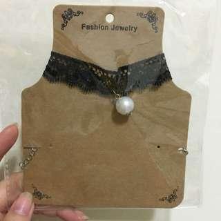 珍珠蕾絲頸鍊頸鏈項圈項鍊
