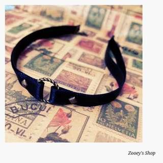 🌜手作緞帶頸鍊-鉚釘款麻花圈🌛
