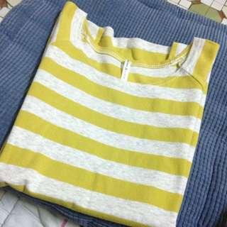 芥黃色條紋短袖T