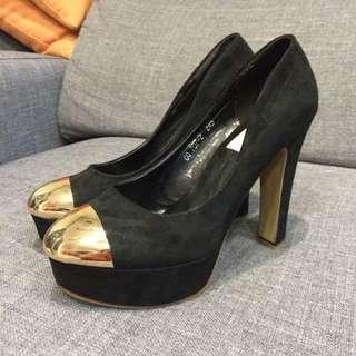 金屬風黑色高跟鞋