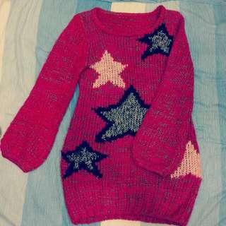 復古保暖紫紅毛衣