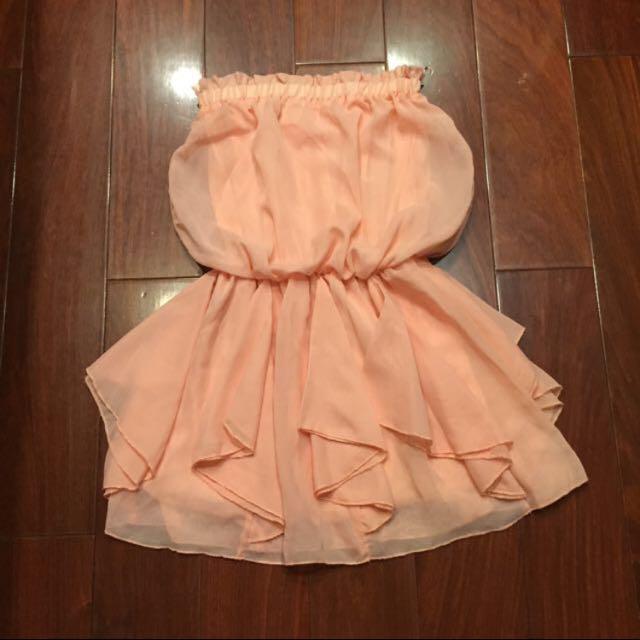 粉桃色雪紡平口洋裝❤️