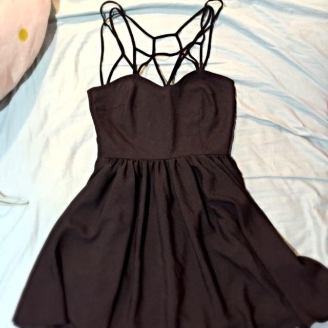 夜店風-黑色網狀小洋裝