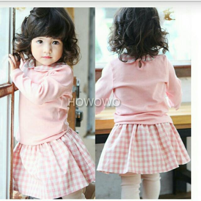 (全新套裝)長袖娃娃領+格子褲裙