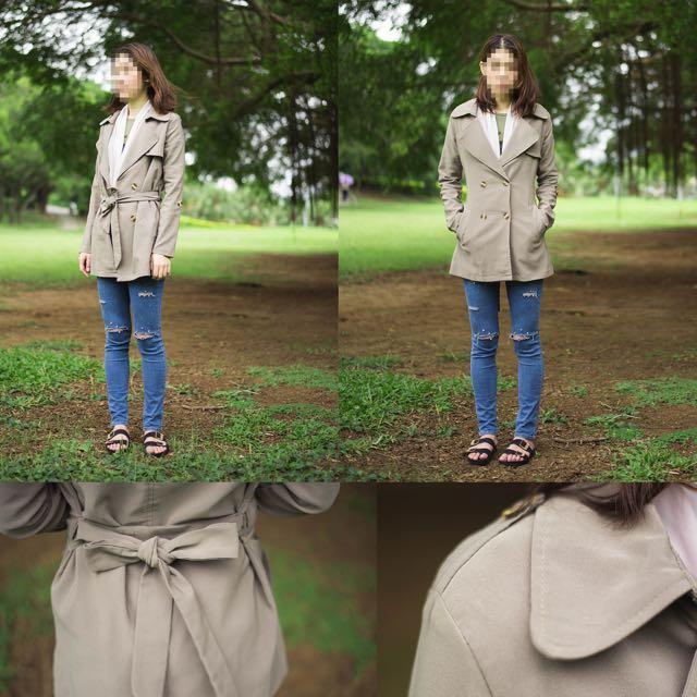 (卡其+墨綠)秋冬仿軍裝雙排扣外套附帶子