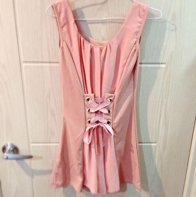 可愛風.粉色緞帶小洋裝