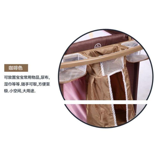 可折疊嬰兒遊戲床專用三格置物籃尿布奶瓶架嬰兒用品收納架
