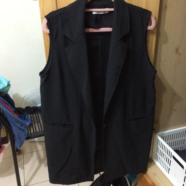 質感黑色西裝背心