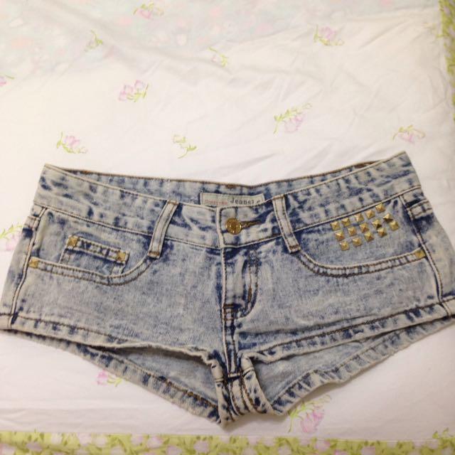 牛仔短褲(短版)