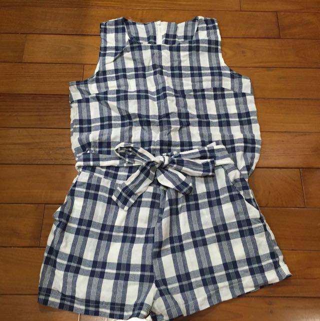 韓版 藍白格紋套裝