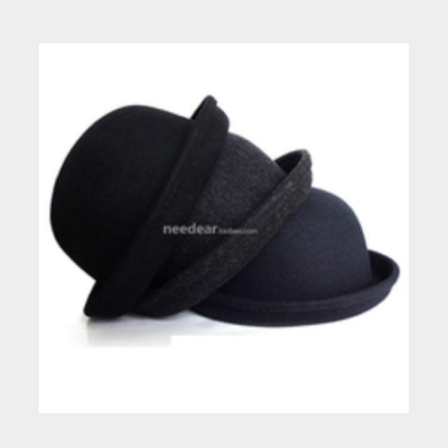 預留//全新 毛呢小圓帽 黑色
