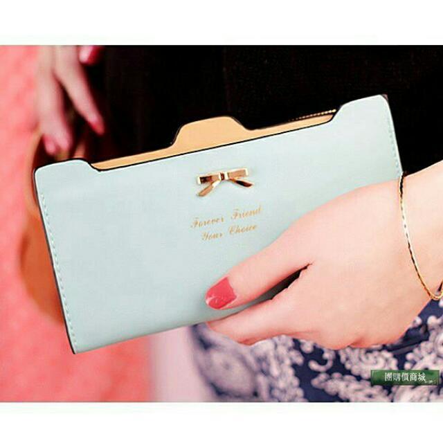 #全新 韓版蝴蝶結長夾卡包 女夾 錢包 藍綠色
