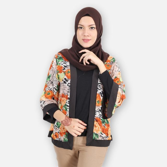 Floral Print Kimono Cardigan Muslimah - Orange / Red on Carousell