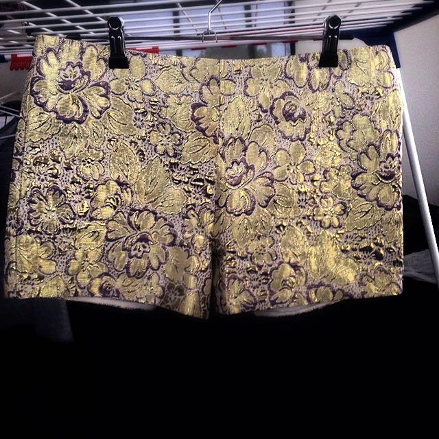 Gold Floral Shorts