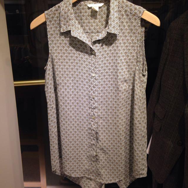 (保留)《50元均一》H&M 灰綠方塊幾何無袖背心雪紡衫