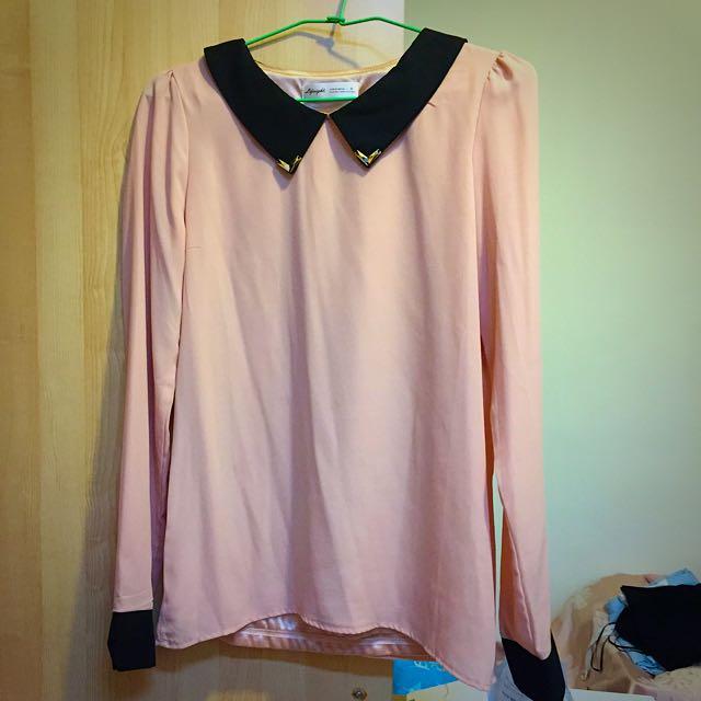 Life 8 粉紅金屬領雪紡長袖上衣