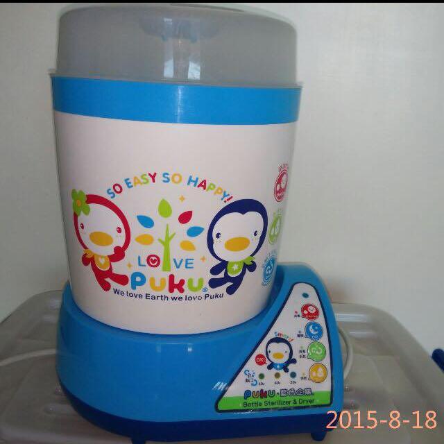 Puku藍色企鵝奶瓶蒸氣消毒烘乾鍋