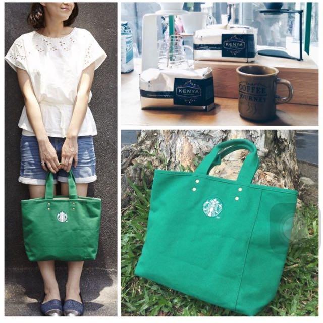 Starbucks 星巴克 麻布托特包(綠)