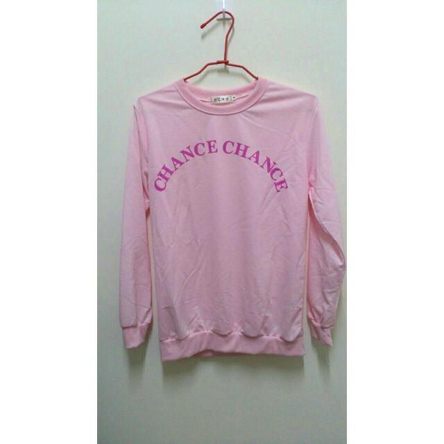 粉色字母棉T