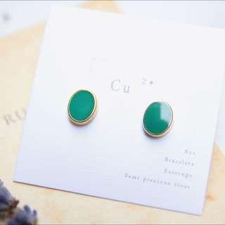 翡麗孔雀綠 手工染色耳環
