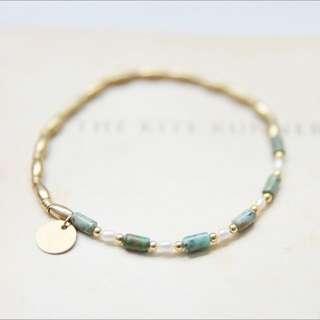 非洲松石與珍珠 / 黃銅手鍊