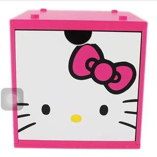 (全新正版保留)桃紅hello Kitty 積木抽屜式收納盒
