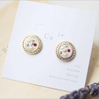 手工珠寶盒耳環/小紅寶石