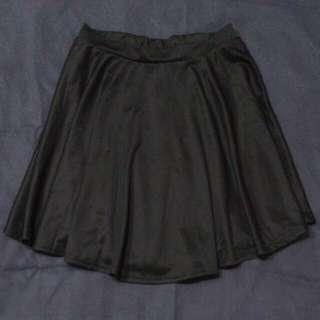 黑色緞面傘裙 短裙 A字裙 西裝滑布