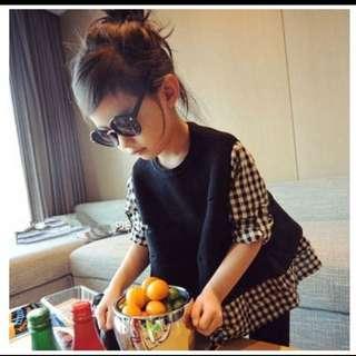 氣質假兩件針織衫 完美版型 兒童襯衣上衣 長袖拼接上衣 長袖娃娃衫裙衫 免運