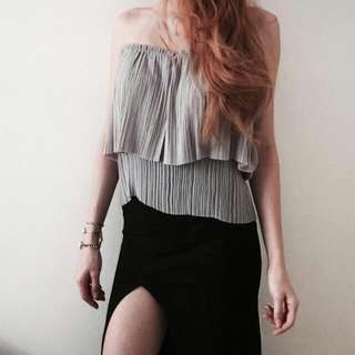 Mds Strapless Pleated Top In BLACK