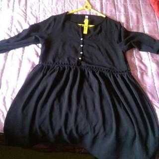 黑色中間鏤空雪紡洋裝 Size:S (美版size偏大)