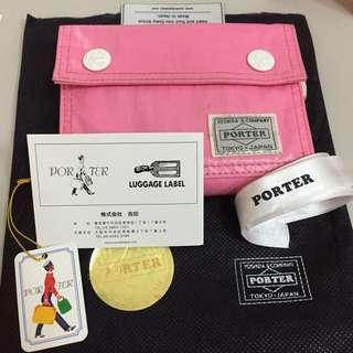 日本 吉田 Head Porter 稀有 粉紅 短夾 正品 日本製 配件齊全 夾層多 二手
