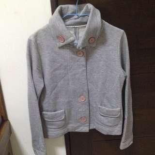 立領 灰色日系鈕釦棉質外套