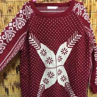大碼民族針織保暖上衣