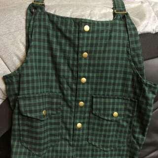 黑綠格子連身褲