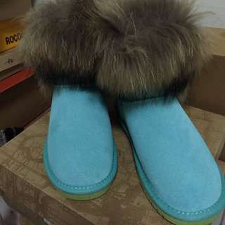 HHI 鐵牌 狐狸毛短雪靴-薄荷綠