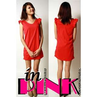 #IDoTrades Flutter Sleeves Shift Dress in Pink