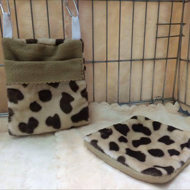 蜜袋鼯~乳牛睡袋組*小寵物、法蘭絨冬季保暖睡袋