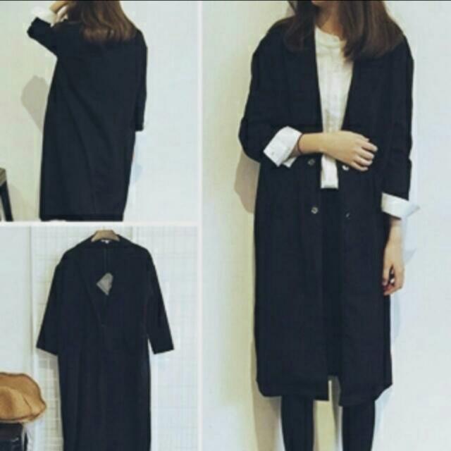 全新黑色長版薄外套