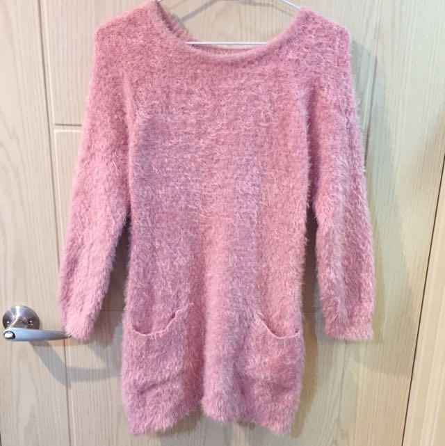 可愛風長版粉色毛衣
