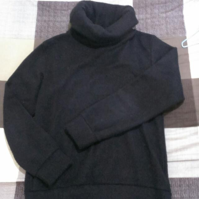 (保留)韓版黑色高領毛衣