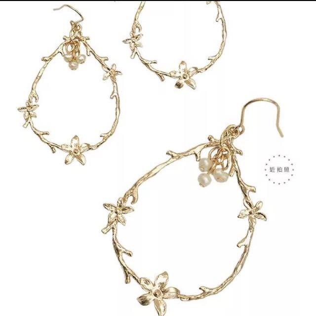 [銅板飾品系列]森林系花圈耳環 有兩對